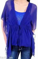 Blue Sheer Flutter Sleeve Shrug/Cover Drape Tunic S