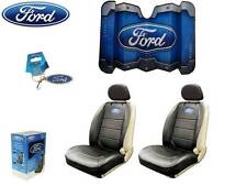 6 Pc Ford Elite Seat Covers Syn Leather & Front Windshield Sun Shade W/ Free Key