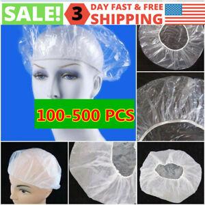 100-500Pcs/Lot Disposable Shower Cap Women Plastic Hat Bath Caps for Spa Hair US