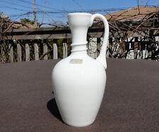 LINDSHAMMAR SWEDEN WHITE GLASS GUNNAR ANDER HANDLED VASE EWER PITCHER NOUVEAU