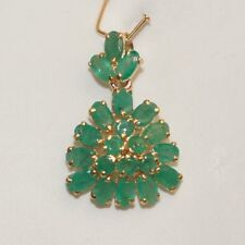 14k Solid Yellow Gold Triangle Cluster Flower Penant, Natural Emerald 4.5TCW