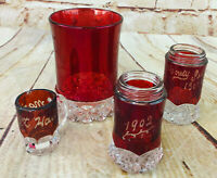 antique lot of  Cranberry Glass containers glass marked 1909 1902 souvenir glass
