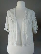 EVANS PLUS SIZE 22/24 WHITE COTTON CROCHET KNITTED SUMMER CARDIGAN SHRUG