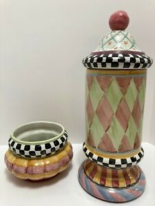 Set Mackenzie-Childs Odd Fellows Taylor Large & Small Canisters - Cookie Jars