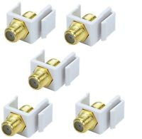 5 Pack - Lot F type Insert Keystone Jack Wall Plate Connector Adapter Coax White