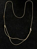Vintage Gold Tone Flat Brick Chain Slider Double Strand Necklace