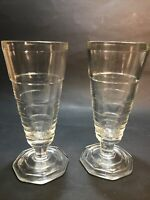2 Vintage Parfait Float Ice Cream Clear Footed Glasses Dessert Set Dishes Glass