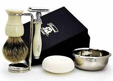 DE rasoio di sicurezza Set da barba (micro-Punta dei Capelli, Rasoio, STAND, Ciotola & sapone) per Uomo