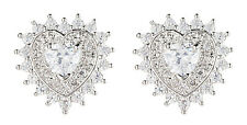 CLIP ON EARRINGS - luxury silver heart earring with clear crystals - Coleen