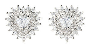 Heart Clip On Earrings luxury silver stud earring with clear crystals - Coleen