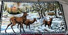 Vintage Italian Art Tapestry Elk Stag Deer in Snow 1965