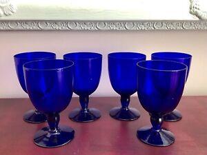 Fine Quality Set Of 6 Antique Victorian Cobalt Bristol Blue Wine Glasses Goblets