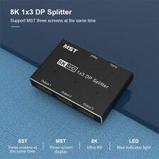 8K@30Hz UHD 4K HD Displayport 1x3 DP Splitter MST SST Hub Multi Monitor Adapter