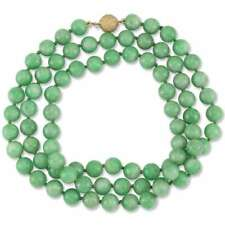 """30"""" Natural Green Jadeite Jade Bead Necklace On 14K Yellow Gold Frosted Clasp"""