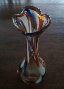 Traumhaft alte VASE aus mehrfarbigen Glas bauchige Form / bitte Fotos ansehen