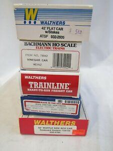 WALTHERS, BACHMANN, E&C SHOPS HO FREIGHT CAR KIT ASSORTMENT 5 PCS NIB