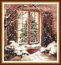 "Finestra di Natale ""Cosy"" cross stitch chart (11 3/4 ""X 12 1/2"") Xmas/Cottage GRATIS UK P & P"