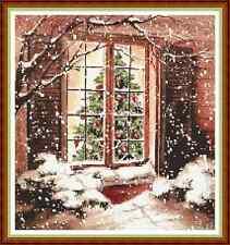 """'COSY CHRISTMAS WINDOW' Cross Stitch Chart (11¾""""x12½"""") Xmas/Cottage FREE UK P&P"""