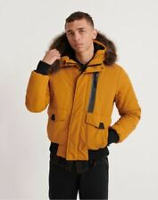 Mens Superdry Everest Bomber Jacket with Faux Fur Hood in Flaxen