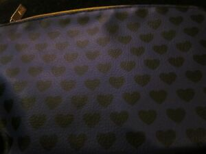 IPSY NOVEMBER 2018 PURPLE WITH BLACK HEARTS  MAKE UP COSMETIC BAG BRAND NEW