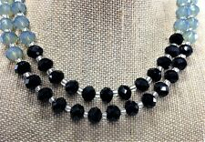 Double Strand Black, Gray and White Opal Glass Beads Necklace Black, Necklace