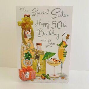 Jonny Javelin Sister Happy 50th Birthday Card Gin Cocktails Present/V845