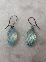 Vintage Drop Earrings Glass Aqua Secure Hooks Dangle 1980s Jewellery Jewelry Old