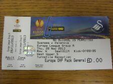 28/11/2013: BIGLIETTO Swansea City V Valencia Uefa Europa League [] (completo di tre
