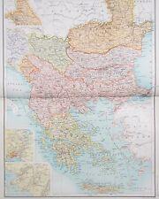 Map of Turkey in Europe 1898. Original. GREECE. BALKANS. BULGARIA Citizens Atlas