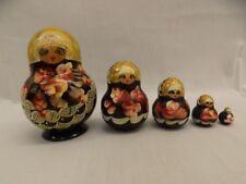 "Beautiful Hand Painted Set of 5 Vtg Nesting Dolls 1/2"" - 3.5"" Matryoshka Russian"