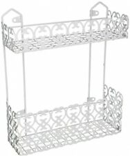 Decorative White Wall Mounted 2 Shelf Rack For Kitchen Spices Bathroom Holder