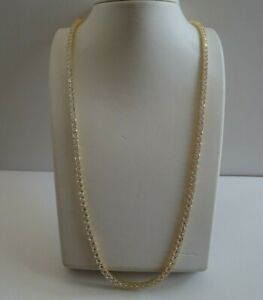 24'' UNISEX TENNIS NECKLACE W/ LAB DIAMONDS/YELLOW GOLD OVER 925 STERLING SILVER