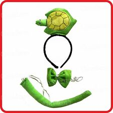 TURTLE TORTOISE TERRAPIN HEADBAND HAIRBAND+BOW TIE+TAIL-3PC DRESS UP SET-COSTUME