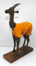 Vintage Hand Made Iron Wooden Deer Figure Old Yellow Color Painted Deer Statue