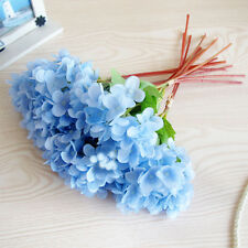 Artificial Hydrangea Silk Flower Leaf Bouquet Wedding Bridal Party Home Decor CN