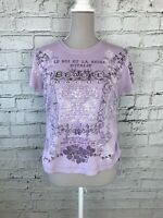 NEXT Purple Short Sleeve Printed Jewel Detail Casual Top T-Shirt Womens Size 14