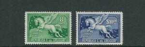 URUGUAY 1943 PEGASUS AIRMAILS 2 values issued in 1943 (8c and 10p) VF MH