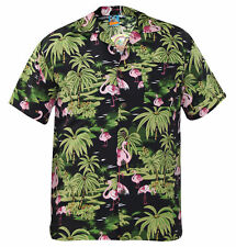 TrueFace Mens Hawaiian Shirts Style Holiday Beach Flamingo Mountain Spring S Flimingo-black M