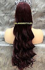 Human Hair Blend Long Loose Wavy Burgundy Ponytail HairPiece Extension #99J NWT