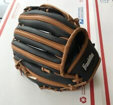 """Franklin 4809 9 1/2"""" Baseball Catching Mitt Youth Size Left Hand Black & Brown"""