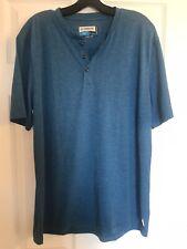 Magellan Outdoors T Shirt Fish Gear Blue L Button Neck Henley