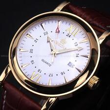 New Men Orkina Coffee 24 hours Leather Gold Case Sport Quartz Date Wrist Watch