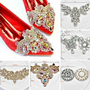 Rhinestone Applique Beaded Sew Iron on Crystal Trim Chain Bridal Shoes Decor DIY
