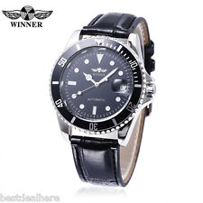Winner W042602 Men Auto Mechanical Watch Date Display Rotatale Bezel Luminous Po