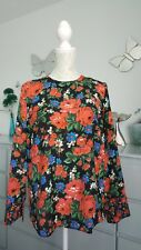 WAREHOUSE Red multi Floral Rose Print Blouse long sleeve top 10 on trend BNWOT