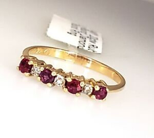 Diamond and Red Ruby Stack Anniversary Wedding Ring Band 14k White Gold Size 6