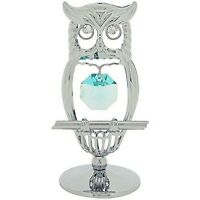 Crystocraft Owl Free Standing Silvertone Ornament Made With Green Swarovsk, box