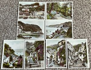 AR Quinton 8 x Little Gems of Clovelly Hand Coloured Set Small Pictures Devon