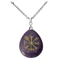 Unisex Viking Vegvisir Pendant Necklace - Natural Stone Icelandic Charm