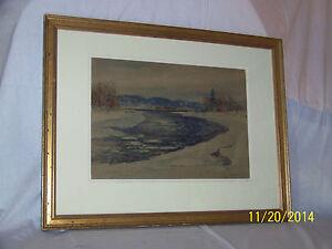 "Arthur B.Wilder ""Connecticut River"" Original c1909 Annual Exhibition Painting"